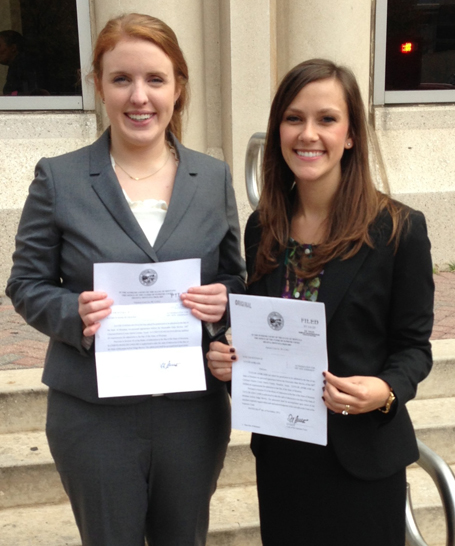Gray Reed attorneys Katie English and Taylor Lamb at their swearing in ceremony to the Montana Bar.